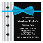 Blue Black Tuxedo Bow Tie Mens Birthday Party Invi Personalized Announcement