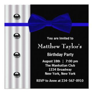 Blue Black Tuxedo Bow Tie Mens Birthday Party Custom Invitation