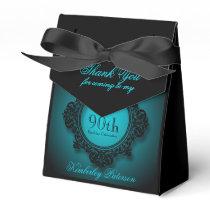 Blue Black Vintage frame 90th Birthday Favor Box