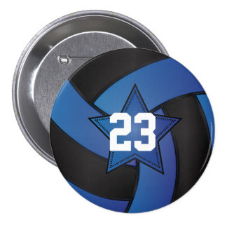 Blue & Black Volleyball Star Players Pinback Button