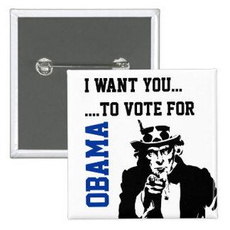 Blue Black Vote for Obama Button