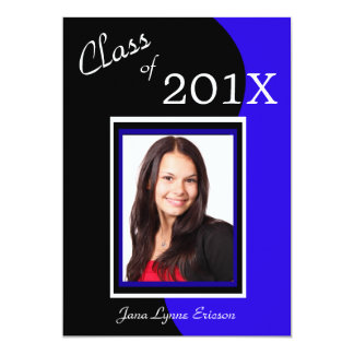 "Blue Black Wave Photo Graduation Party 5"" X 7"" Invitation Card"