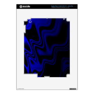 Blue Black Wavy Abstract Decal For iPad 3