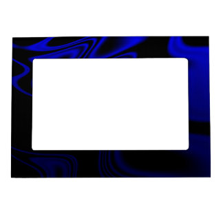 Blue Black Wavy Abstract Magnetic Photo Frame