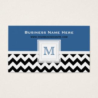 Blue Black White Chevron: Monogram Business Card