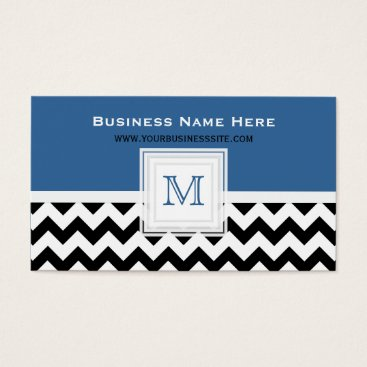 Professional Business Blue Black White Chevron: Monogram Business Card