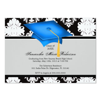 Blue, Black, White, Custom Graduation Invitation
