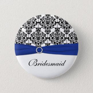 Blue Black White Damask Bridesmaid Pin