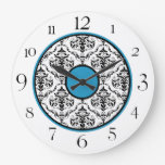 "Blue Black & White Damask Elegant 10.75"" Clock"
