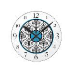 Blue Black & White Damask Elegant Round Clock