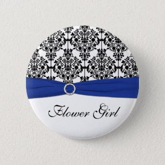 Blue Black White Damask Flower Girl Pin