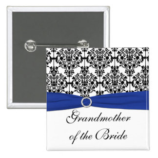 Blue Black White Damask Grandmother of the Bride Pinback Button
