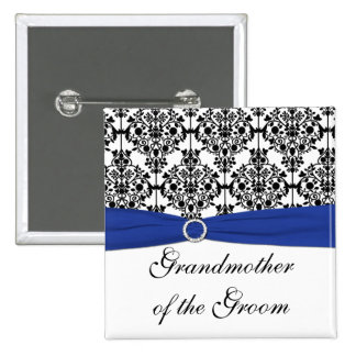 Blue Black White Damask Grandmother of the Groom Pinback Button