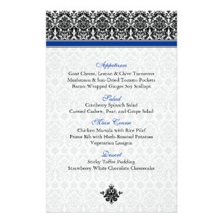 Blue, Black, White Damask Menu Card