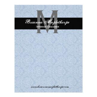 Blue Black White Damask Monogram Letterhead