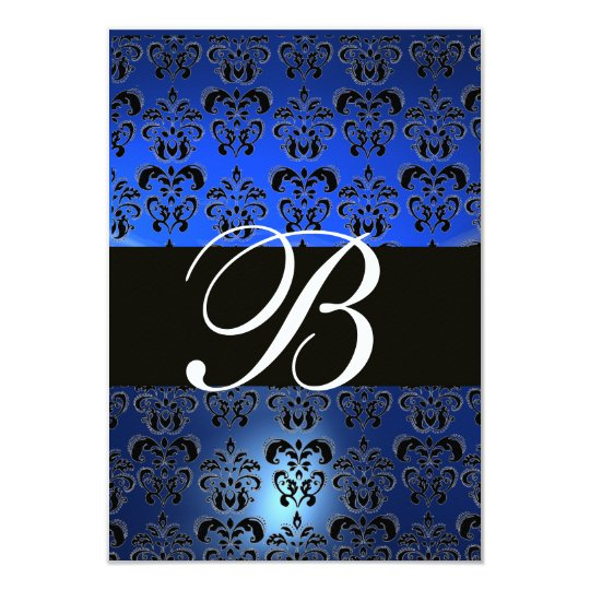 BLUE BLACK WHITE  DAMASK MONOGRAM RSVP CARD