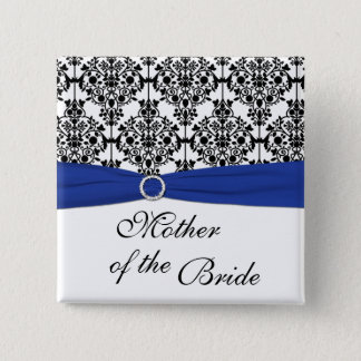 Blue Black White Damask Mother of the Bride Pin
