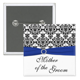 Blue Black White Damask Mother of the Groom Pin