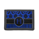 Blue Black White Damask, Stripes Tri-Fold Wallet