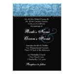 Blue Black White Damask Wedding Invitation