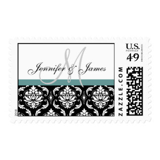 Blue Black White Damask Wedding Monogram Postage