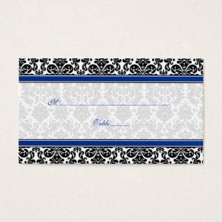 Blue, Black, White Damask Wedding Place Cards