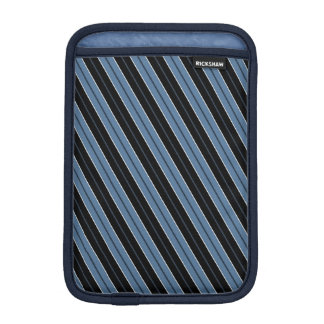 Blue black white diagonal pinstripes iPad mini sleeve