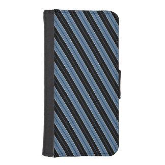 Blue black white diagonal pinstripes iPhone SE/5/5s wallet case