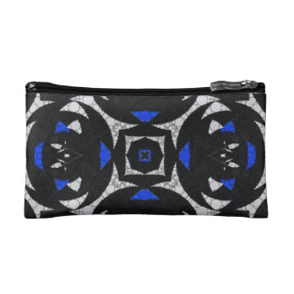 Blue Black White Keolidescope Cosmetic Bag
