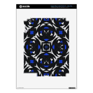 Blue Black White Keolidescope Skins For iPad 3