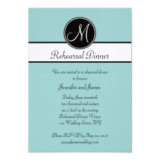 """Blue Black White Monogram Rehearsal Dinner 5"""" X 7"""" Invitation Card"""