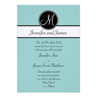Blue Black White Monogram Wedding Invitations