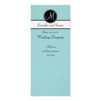 "Blue Black White Monogram Wedding Programs 4"" X 9.25"" Invitation Card"