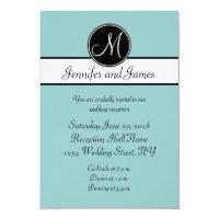 Blue Black White Monogram Wedding Reception Cards