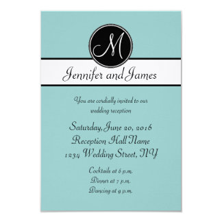 Blue Black White Monogram Wedding Reception Cards