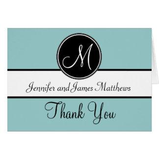 Blue Black White Monogram Wedding Thank You Cards