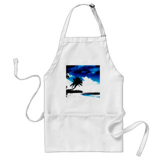 Blue Black White palm Tree Silhouette Adult Apron