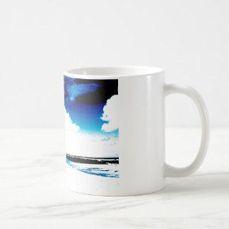 Blue Black White palm Tree Silhouette Coffee Mug