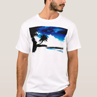 Blue Black White palm Tree Silhouette T-Shirt