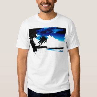 Blue Black White palm Tree Silhouette Tee Shirts
