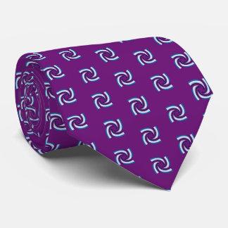 Blue Black White Pattern Purple Neck Tie