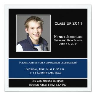 Blue Black White Photo Graduation Invitation