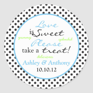 Blue Black White Polka Dot Candy Buffet Stickers