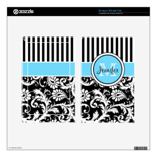 Blue Black White Striped Damask Kindle Fire Skin