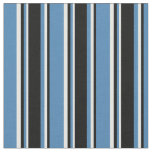 [ Thumbnail: Blue, Black & White Stripes Fabric ]