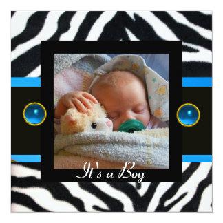 BLUE BLACK WHITE ZEBRA FUR Monogram Photo Template 5.25x5.25 Square Paper Invitation Card