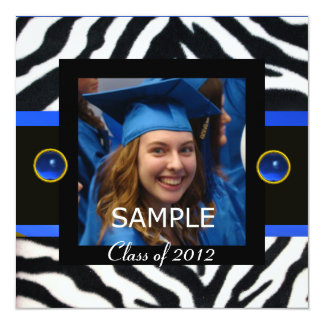 "BLUE BLACK WHITE ZEBRA FUR Monogram Photo Template 5.25"" Square Invitation Card"