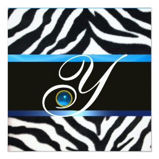 BLUE BLACK WHITE ZEBRA FUR MONOGRAM,Sapphire Card
