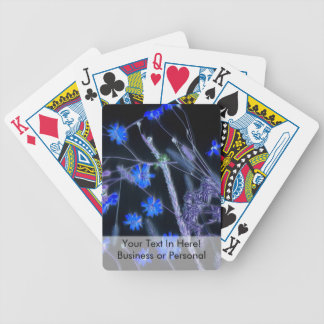 Blue Black wildflower scan design Bicycle Playing Cards