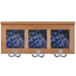 Blue Black wildflower scan design Coat Racks